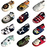 Soft Leather Baby Boy Shoes with Suede Soles by Dotty Fish red monkey design 0-6 months to 3-4 years