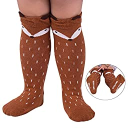 Qteland Little Fox Pattern Unisex-baby Knee High Socks Tube socks for Kids 2-pack (M(1-3 years), Mix)