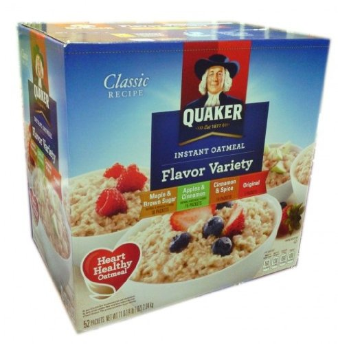 Quaker Instant Oatmeal Packets Variety Pack, 52-Count