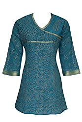 ADA Traditional Handmade Designer Chikan Collection Straight Chanderi Kurti Kurta A119497