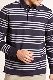 Blue Harbour Pure Cotton Stripe Polo Shirt [T28-2516B-S]