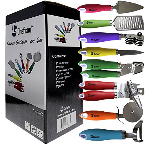 8 Pieces Kitchen Gadget Tools Set by Chefcoo™ - Stainless-Steel Utensils Chef Cooking Set - Peeler, Knife, Pie Server, Can Opener, Pizza Cutter, Grater, Knife Sharpener & Garlic Press (Kitchen Gadgets And Tools compare prices)