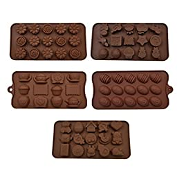 Hippih Cartoon Shaped Candy Molds, Chocolate Molds, Soap Molds, Silicone Baking Mold with Star, Happy Face, Robot, Bear, Figures, Fruits, Kids Toys (5 Pack)