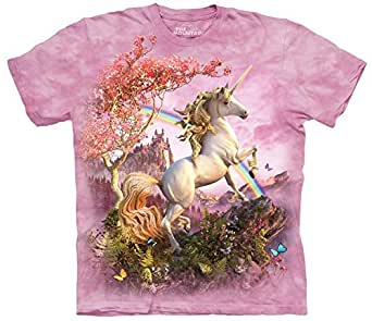 Mountain Awesome Unicorn Adult Size T-shirt , Pink , Small