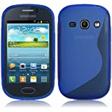 Yakamoz Slim Fit S Line Shape Wave Flexible TPU Case Cover for Samsung Galaxy Fame S6810 with Free Screen Protector & Stylus Pen (S-Line Blue)