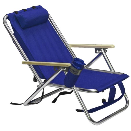 Backpack beach chair folding portable blue solid for Chaise longue pliante camping
