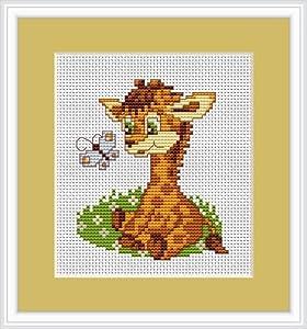 Luca-S LB044 Counted Cross-Stitch Kit / Sitting Giraffe Motif / 10 x 8.5 cm
