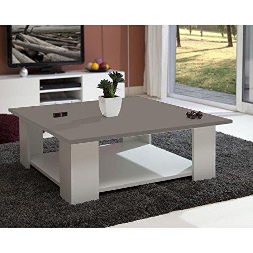 LIME Table basse carrée style contemporain mélaminée blanc et taupe - L 89 x l 89 cm