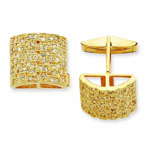 PriceRock Sterling Silver & Vermeil Woven Cz Cuff Links