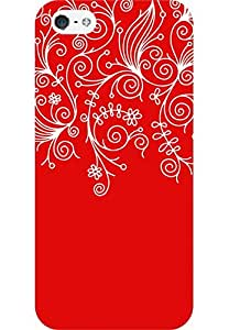 AMEZ designer printed 3d premium high quality back case cover for Apple iPhone 5S (red white design pattern abstract)