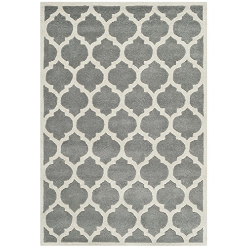 Safavieh Chatham Collection CHT734D Handmade Dark Grey and Ivory Wool Area Rug, 3 feet by 5 feet (3' x 5')