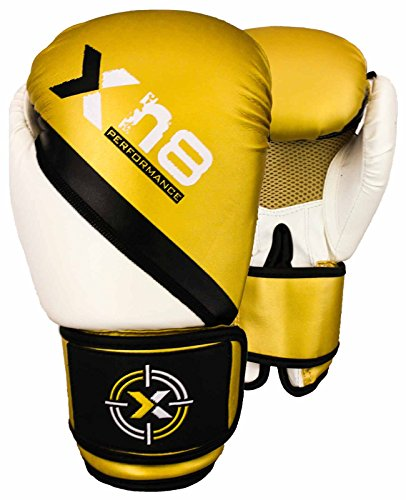 Rex-Leather-Boxing-Glove-MMA-Muay-Thai-Punch-Bag-Sparring-Fight-Pad-Kickboxing-Martial-Arts-Training-GlovesGolden-White