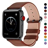 Fullmosa Compatible Smart Watch Band 44mm 42mm 40mm 38mm, Genuine Leather Band Compatible Watch Series 4, Series 3, Series 2, Series1, 44mm 42mm Brown + Gunmetal Buckle (Color: Brown + smoky grey buckle, Tamaño: 42mm(44mm for Series 4))