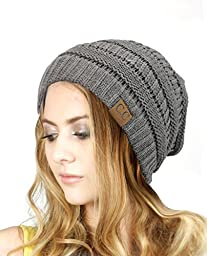 Trendy Warm Chunky Soft Stretch Cable Knit Slouchy Beanie Skully HAT20A, Light Melange Gray