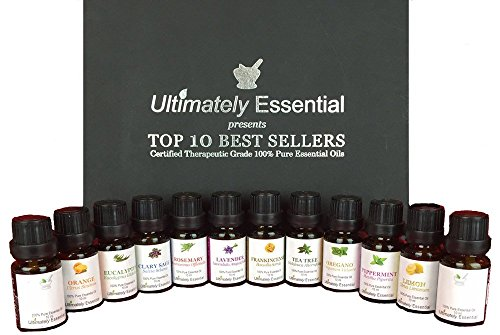 Ultimately Essential Oils Top 10 Gift Set 10/10ml 2 Empty to Blend - Highest Quality 100% Pure Therapeutic Frankincense Lavender Peppermint Rosemary Oregano Tea Tree Eucalyptus Lemon Orange Clary Sage