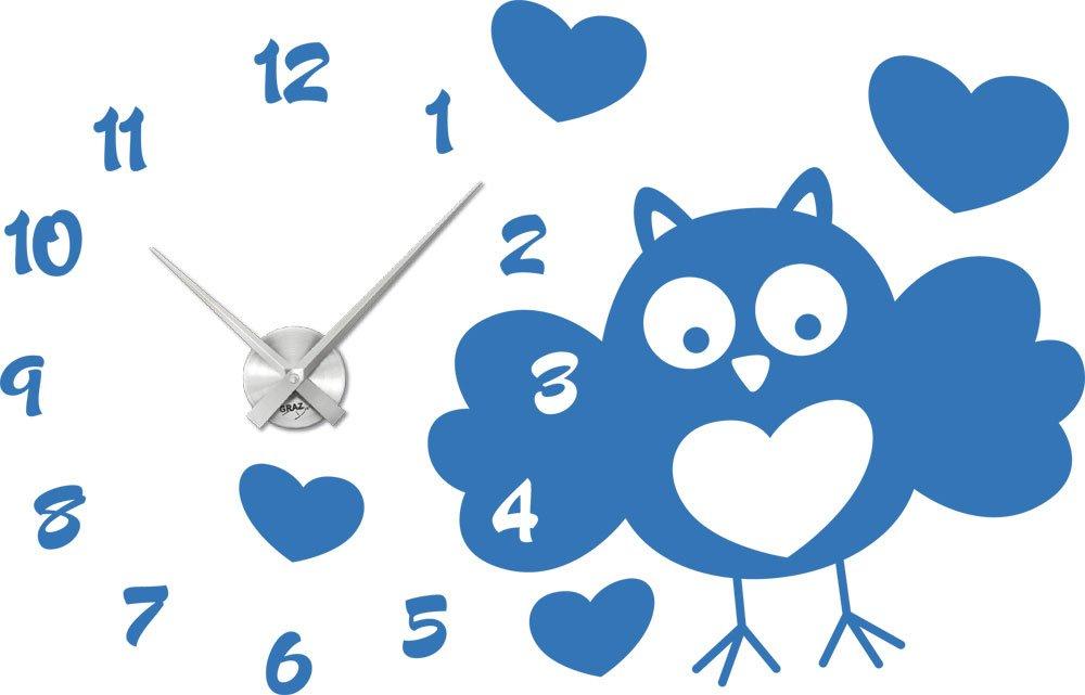 Wandtattoo Uhr mit Uhrwerk Wanduhr Eule mit Zahlen Kinderzimmer (Uhr Silber gebürstet //053 hellblau) bestellen