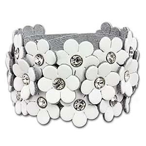 SilberDream Lederarmband weiß Glitzer Blumen Zirkonia weiß Damen Armband Echtleder LA5668W