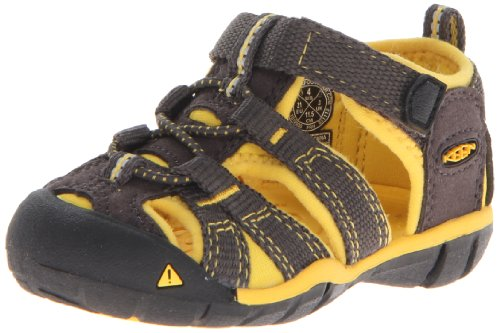Keen Unisex - Child SEACAMP II CNX I-RAVEN/YELLOW Sandals Gray Grau (RAVEN/YELLOW) Size: 22