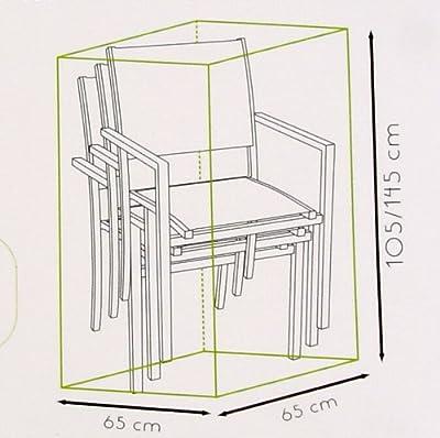 Schutzhülle für einen Stuhlstapel - Höhe 105/145 cm - mit verchromten Lochverstärkungen und einer Zugkordel zur Befestigung