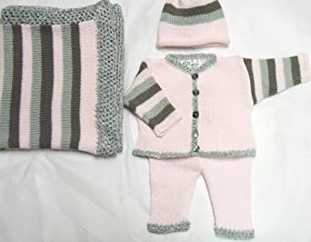 Knitted Stripped Pink Cotton Girls Cardigan Pant Hat Blanket for Ages 0-6 Months