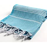 "100% Cotton Turkish Bath Towel Pestemal Peshtemal Fouta for Hamam Bathrobe Spa Pool Massage Sauna Beach Yacht Gym Fitness Kitchen Yoga Baby Towel Picnic Blanket Table Throw Sarong Unisex Striped Classic ""Turquoise Blue"""