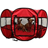 """OxGord 8-Panel Pop-Up Tent with Carry Bag Portable PlayPen for Pets, 48 by 48 by 25"""", Red"""