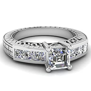 Engagement Ring 1 Ct Asscher Cut:Very Good Diamond Antique Channel Set VVS2 GIA Certificate # 1156412331