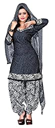 Vidhya LifeStyle Women's A- Line Poly Cotton Printed Unstitched Dress Material(Black&White_Free Size)