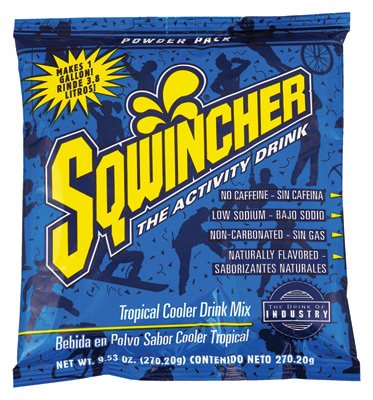 Sqwincher 016009-Tc 9.53 Oz Powder Concentrate Electrolyte Replacement Beverage Mix, 1 Gallon Yield, Tropical Cooler Flavor (Case Of 80)