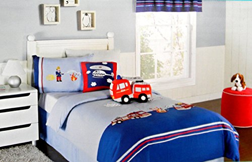 Firefighters And Police Heroes Kas Kids Australia Twin Duvet Cover Set & Helicopter Square Pillow Bundle