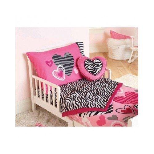 Garanimals Princess Zebra Print Hearts 4-Piece Toddler Bedding Set, Pink For Girls