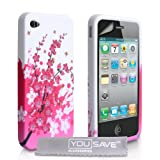 Yousave Accessories Coque en gel silicone avec Protecteur �cran pour iPhone 4 / 4S Blanc / Rose Abeillepar Yousave Accessories