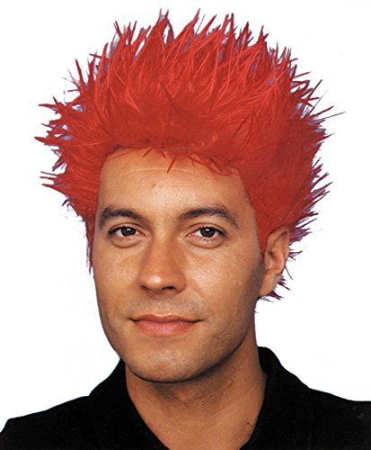 Star Power Crazy Punk Rockstar Hair Wig Red One Size (Adult)