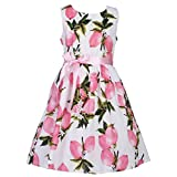 Fubin Kid Girl Floral Cotton Dresses Summer Clothes Black height 53''/5-7 Years
