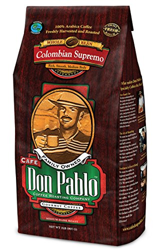 Cafe Don Pablo Gourmet Coffee Medium-Dark Roast Whole Bean, Colombian Supremo, 2 Pound (Coffee Colombian compare prices)