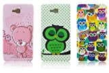 LG Optimus L9 II 2 D605 TPU SILICON 3x SET CUTE OWL + PINK BEAR BEAR Design protection phone case bag shock Bumper thematys®
