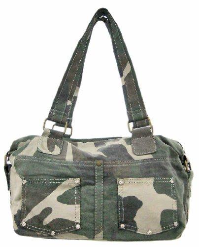 Green Camo Rhinestone Handbag Purse Camouflage