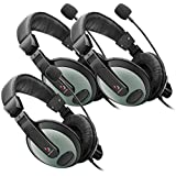 Etekcity 3 Pack PC Headphone Headset Bravo 3.5mm with Mic Microphone for Computer Laptop Notebook,Black