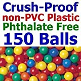 """150 pcs Large 3.1"""" Crush-Proof non-PVC Phthalate Free Plastic Ball Pit Balls - Air-Filled in 5 Colors - Guaranteed Crush-Proof"""