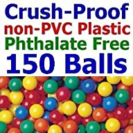 150 pcs Large 3.1″ Crush-Proof non-PVC Phthalate Free Plastic Ball Pit Balls – Air-Filled in 5…