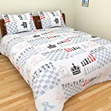 BeautifulHOMES 180 TC Cotton Double Bedsheet with Two Pillow Covers - Multi Color, CF010