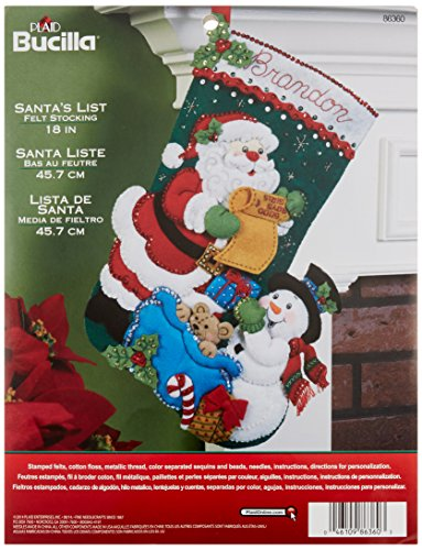 Bucilla Santa's List Christmas Stocking Felt Applique Kit, 86360 18-Inch