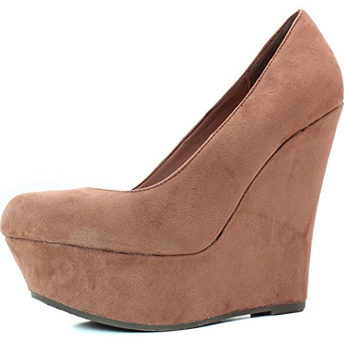 Women'S Round Toe Platform Slip On Soft Fabric High Heel Breckelle'S Wedges Blush Color, 5.5