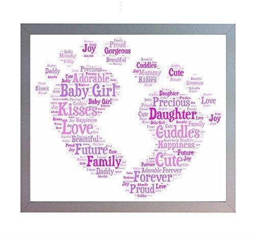 Oaktree-Gifts-Lmina-decorativa-para-bebe-recin-nacida-DIN-A4-diseo-con-palabras-diseo-con-texto-en-ingls-ideal-para-regalar-a-padres-que-acaban-de-tener-una-hija