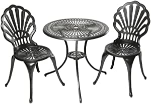 Alfresco Home Bay View Bistro 26 Inch Table and Chairs Set, Glossy Black Finish