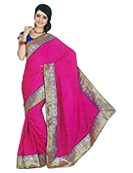 Faux Georgette Saree In Purple Colour For Party Wear - B00VCYOMF2