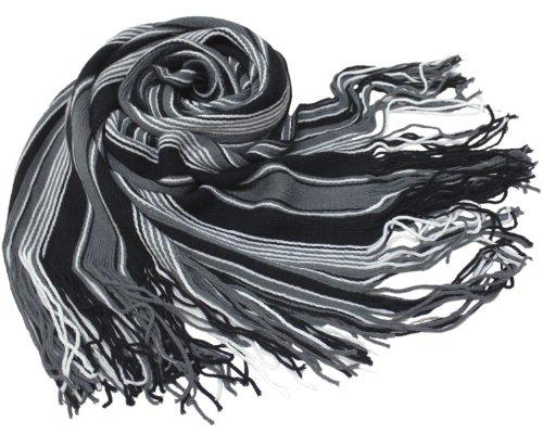 ラッセルストライプマフラー ブラックグレー