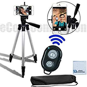 eCost 50 Inch Aluminum Camera Tripod with Universal Smartphone Mount + Bluetooth Wireless Remote Control Camera Shutter for Smartphones + eCostConnection Microfiber Cloth