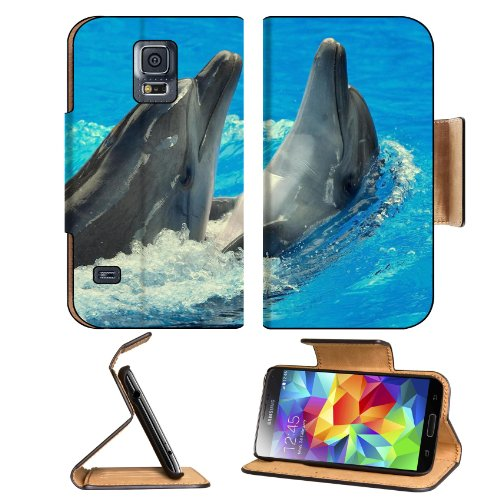 Dolphins Splash Ocean Animals Marinelife Samsung Galaxy S5 Sm-G900 Flip Cover Case With Card Holder Customized Made To Order Support Ready Premium Deluxe Pu Leather 5 13/16 Inch (148Mm) X 2 1/8 Inch (80Mm) X 5/8 Inch (16Mm) Liil S V S 5 Professional Cases