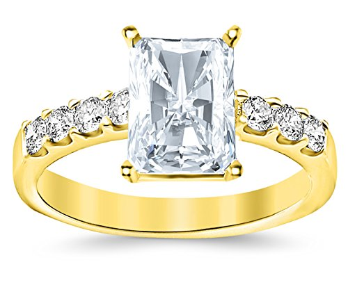 Gia Certified 1 Carat Radiant Cut/Shape 14K Yellow Gold Classic Prong Set Diamond Engagement Ring With A 0.51 Carat, F Color, Vvs1-Vvs2 Internally Flawless Clarity Center Stone